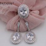 PATAYA Bridal <b>Jewelry</b> Sets True White Gold White Natural Zircon Wedding <b>Jewelry</b> <b>Accessories</b> Women Rose Red Big Earrings Ring Set