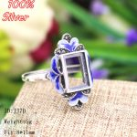Royal 100% Sterling-Silver-<b>Jewelry</b> Ring Base Fit Squre 8*11mm Cloisonne Classic <b>Antique</b> Bronze Blank Tray diy Handmade Rings