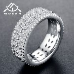 MDEAN White & Rose Gold Color AAA Zircon Round Rings for Women Wedding <b>Jewelry</b> <b>accessories</b> Bague Bijoux Size 5-12 H1044