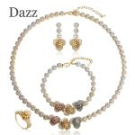 Dazz Fashion Wedding <b>Jewelry</b> Sets Flower Shape Choker Necklace Earrings Ring Bracelet 4 Pcs Set Women Girls Copper <b>Accessories</b>