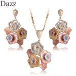 Dazz Luxury Three Tones Flowers Shape Necklace Earrings Rhinestones <b>Jewelry</b> Sets Copper Zircon Banquet Party Women <b>Accessories</b>