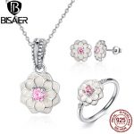 100% 925 Sterling Silver <b>Jewelry</b> Set White Flower Pink Clear CZ <b>Jewelry</b> Sets Sterling Silver <b>Jewelry</b> <b>Accessories</b> WES036