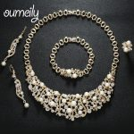OUMEILY Charm Imitation Crystal Wedding <b>Jewelry</b> Sets For Women Bridal Simulated Pearls Gold Color Costume Statement <b>Accessories</b>