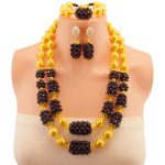 African Beads <b>Jewelry</b> Sets Black Classic Gold-color Ball Bridal Wedding <b>Accessories</b> Necklace Bracelet Earrings Set