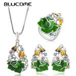 Blucome 2018 Trendy Rose Flower <b>Jewelry</b> Set For Women Party Wedding <b>Accessories</b> Green Enamel Pendant Necklace Earrings Ring Sets