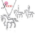 JEXXI Cute Horse CZ Crystal Pendant 925 Sterling Silver <b>Jewelry</b> Sets for Women Girls Wedding Party <b>Accessory</b> Necklace Earrings