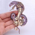 Bella Fashion <b>Antique</b> Gold Tone Purple Enamel Snake Brooch Pins Austrian Crystal Animal Brooch Pins For Women Party <b>Jewelry</b>