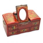 Exquisite Chinese classical <b>antique</b> <b>jewelry</b> box multifunction mirror <b>jewelry</b> box