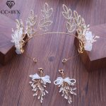 CC earrings for women crown hairbands 2pcs sets wedding <b>accessories</b> bride engagement <b>jewelry</b> crystal beads simple design XY250