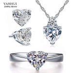 YANHUI Romantic Heart CZ <b>Jewelry</b> Bridal Sets for Women Solid 925 Silver <b>Accessories</b> Wedding Sets Engagement Fine <b>Jewelry</b> TZ013