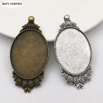 20 pieces/lot Fit 30*40mm Alloy <b>Antique</b> Bronze/<b>Antique</b> Silver Blank Tray Pendant Base Cameo Setting <b>Jewelry</b> Findings D10002
