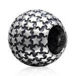 <b>Antique</b> Tone Star Pattern Round Authentic 925 Sterling Silver Big Hole European Charm Beads For DIY European <b>Jewelry</b> SAPB3101