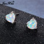 JUNXIN Blue/White Fire Opal Heart Stud Earrings Small Bohemian Double Earrings For Women 925 Silver Filled <b>Jewelry</b> <b>Accessories</b>
