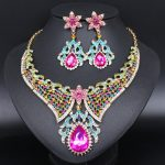 Fashion Crystal Necklace Earrings Sets Indian Bridal <b>Jewelry</b> Sets Rhinestones Party Wedding Costume Jewellery <b>Accessories</b> Women