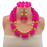 Wholesale Fashion Nigerian Wedding Fuchsia African Beads <b>Jewelry</b> Sets For Women Party Dubai <b>Jewelry</b> Set Wedding <b>Accessories</b>