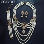 Imitation Pearls Crystal Gold Color Wedding <b>Jewelry</b> Sets For Women Necklace Earrings Bracelet Rings Bridal Dress <b>Accessories</b>