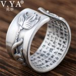 V.YA 990 Sterling Silver Buddhist Buddha Mantra Opening Ring for Men Women Unique Hand & Lotus flower <b>Jewelry</b> <b>Accessories</b>