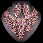 Fashion Indian Crystal Bridal <b>Jewelry</b> Sets Statement Big Necklace Earrings Sets for Bride Wedding Party Dress Costume <b>Accessory</b>