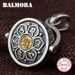 BALMORA 925 Sterling Silver Buddhistic Six Words' Sutra Pendants Men <b>Jewelry</b> <b>Accessories</b> Rotated Pendant Without a Chain SY14328