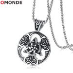 OMONDE Vintage Pendant Necklaces Gothic Cross Triskele Trinity Scottish Irish Triangle Knot <b>Antique</b> Punk <b>Jewelry</b> for Men Women
