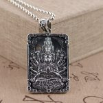 Deer king S925 silver <b>jewelry</b> wholesale <b>antique</b> style Avalokitesvara heart tag Mens Gift