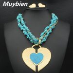 MUYBIEN New Fashion Design Heart <b>Jewelry</b> Sets Pendant Necklace Earrings Set for for Women/Man Clothing <b>Accessories</b> SEDKARCI