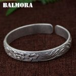 BALMORA 990 Pure Silver Flower Open Bangles for Women Mother Gift about 18cm Retro Bracelet <b>Jewelry</b> Pulsera <b>Accessories</b> SZ0492