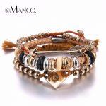 e-Manco Trendy Multilayers Heart Bracelet & Bangle for Women Cute Beaded Leather Cope Bracelet <b>Accessories</b> <b>Jewelry</b>