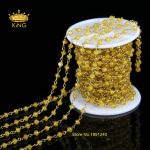 5Meter <b>Antique</b> Bronze Tone Spinel Rosary Style Yellow Jade Beaded Chain,Wire Wrapped Beaded Rosary Chain Faceted Beads MLY013