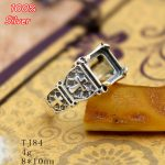 100% Sterling Silver 925 <b>Jewelry</b> 8*10mm Adjustable Ring Blank Tray Setting Square Stone <b>Antique</b> Silver Classical