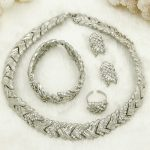 2018 Fashion Dubai New Silver <b>Jewelry</b> Sets African Women Short Crystal Necklace Earrings Italian Wedding <b>Jewelry</b> <b>Accessories</b>