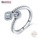 LZESHINE New <b>Antique</b> 925 Sterling Silver Round & Square Sparkling CZ Open Finger Ring for Women Wedding <b>Jewelry</b> Gift Anel 0125