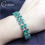 100% Natural Colombia emerald bracelet 24 pcs SI grade emerald bracelet for wedding 925 <b>sterling</b> <b>silver</b> emerald <b>jewelry</b>