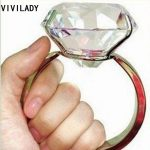 VIVILADY <b>Jewelry</b> Funny Super Size Crystal Wedding Rings 80mm Novelty Lover Gifts Silver Color Free Shipping Bridal <b>Accessories</b>