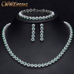 CWWZircons 3 Pcs CZ Green Crystal Bracelet Necklace And Earrings Sets Luxury Women Wedding <b>Accessories</b> Bride <b>Jewelry</b> Set T030