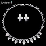 LUOTEEMI Silver Color Freshwater Pearl Collar Choker Necklace Wedding <b>Jewelry</b> Sets <b>Accessories</b> Invisible Setting CZ For Valentin