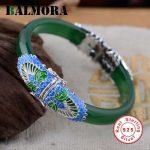 BALMORA 100% 925 Sterling Silver <b>Jewelry</b> Elephant Green Bangles for Women Gift <b>Accessories</b> Ethnic <b>Jewelry</b> Esposas SZ0070