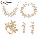 Gold Color <b>Jewelry</b> Sets Made With Austrian Elements Crystal Leaf Necklace Earrings Bracelet Ring wedding <b>accessories</b>