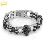 Kalen Punk Stainless Steel Black Skull Charm Bracelet Men's Biker Bicycle Motorcycle Chain Bracelet Fashion <b>Accessories</b> <b>Jewelry</b>