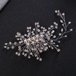 Gorgeous <b>Art</b> <b>Deco</b> Silver Clear Crystals Pearls Flower Leaves Wedding Hair Comb Bridal Headpiece Hair accessories Women <b>Jewelry</b>