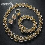 OUMEILY African Beads <b>Jewelry</b> Sets For Women Wedding Gold Color Imitation Crystal <b>Accessories</b> Necklace Earrings Bracelet Rings