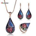 Fashion Water Drop Shape Rose Flower Necklace Earrings Ring <b>Jewelry</b> Sets Enamel Pendants Women Wedding Banquet Party <b>Accessories</b>