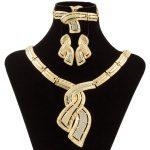 Fashion African <b>Jewelry</b> 18 Gold Nigerian Crystal Necklace Hoop Earrings Women Italian Bridal <b>Jewelry</b> Sets Wedding <b>Accessories</b>