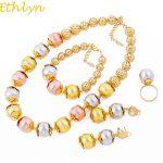 Ethlyn New Big Three Color Charm Beads Nigerian Women Fashion <b>Jewelry</b> Sets Wedding Party Cute/Romantic <b>Accessories</b> S128