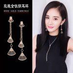 Hollow Fan Pendant Earrings Women Rose Gold Color Vintage Drop Earrings Female Tassel <b>Antique</b> Dangle Earring Fashion Ear <b>Jewelry</b>