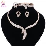 Fashion Necklace Earrings Bracelet Ring Gold Color <b>Jewelry</b> Sets For Women Wedding Imitation Crystal Holiday <b>Accessories</b>