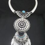 Boho Retro <b>Antique</b> Silver Rhinestone Blue Gem Leaf Tassel Collar Necklace Bohemian Maxi Necklaces for Women <b>Jewelry</b>