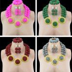 Trendy Nigerian Wedding African Beads <b>Jewelry</b> Set <b>Accessories</b> Party Nigeria Wedding Set <b>Jewelry</b> Crystal Earrings For Women