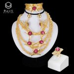 BAUS 2018 Dubai Gold color <b>jewelry</b> sets Nigerian wedding african beads ethiopian Bridal <b>accessories</b> big necklace earrings sets