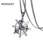 Meaeguet Vintage Steampunk Rudder Necklace Men <b>Antique</b> Silver Stainless Steel Mechanical Gear Punk Collare Pendant <b>Jewelry</b>
